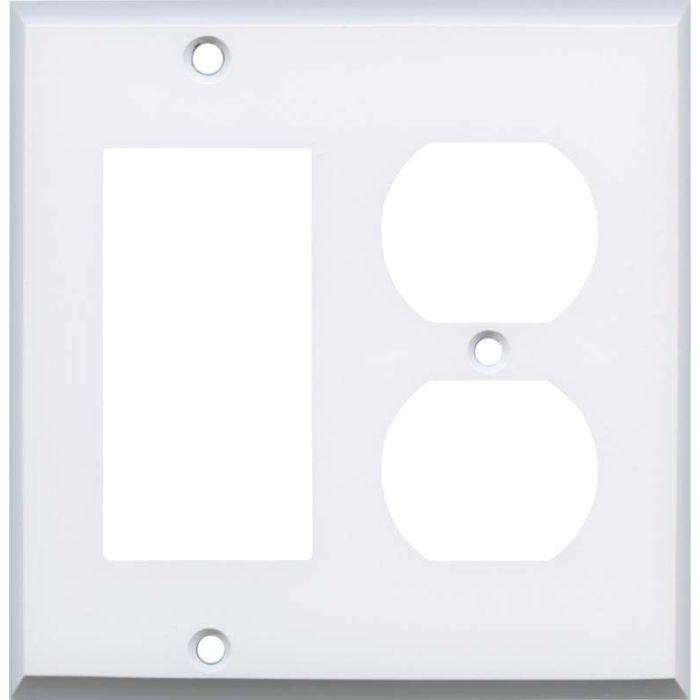 White Enamel Combination GFCI Rocker / Duplex Outlet Wall Plates
