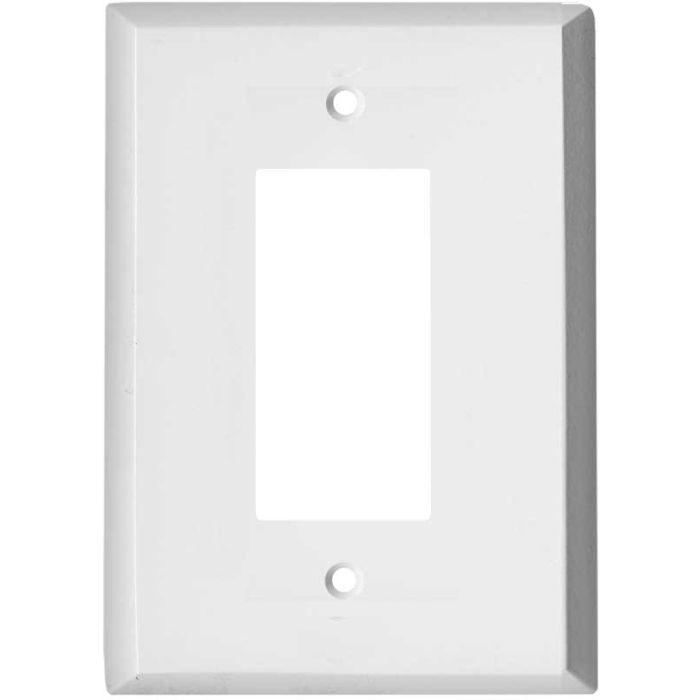 Oversized White Steel Single 1 Gang GFCI Rocker Decora Switch Plate Cover