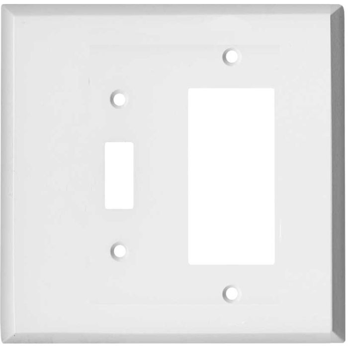 Oversized White Steel Combination 1 Toggle / Rocker GFCI Switch Covers