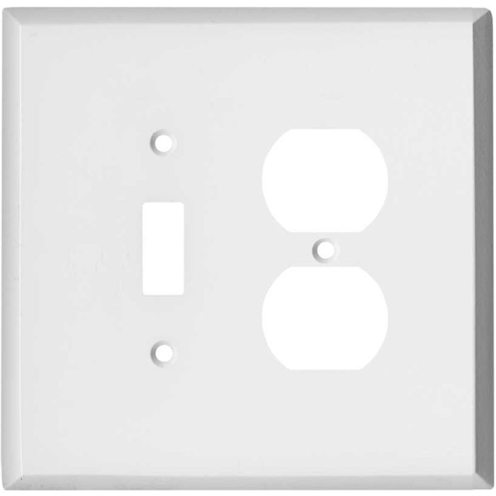 Oversized White Steel Combination 1 Toggle / Outlet Cover Plates