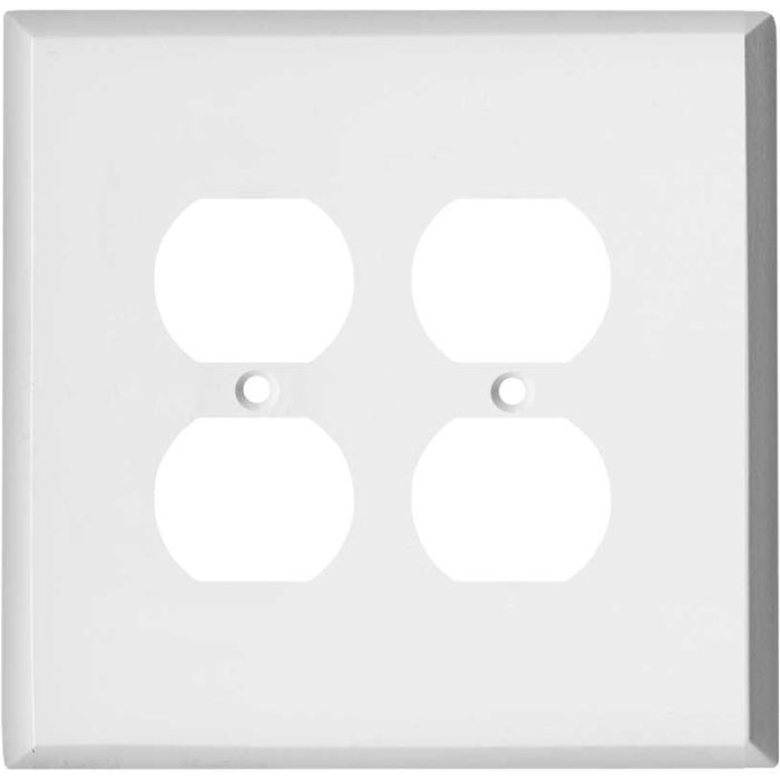 Oversized White Steel 2 Gang Duplex Outlet Wall Plate Cover