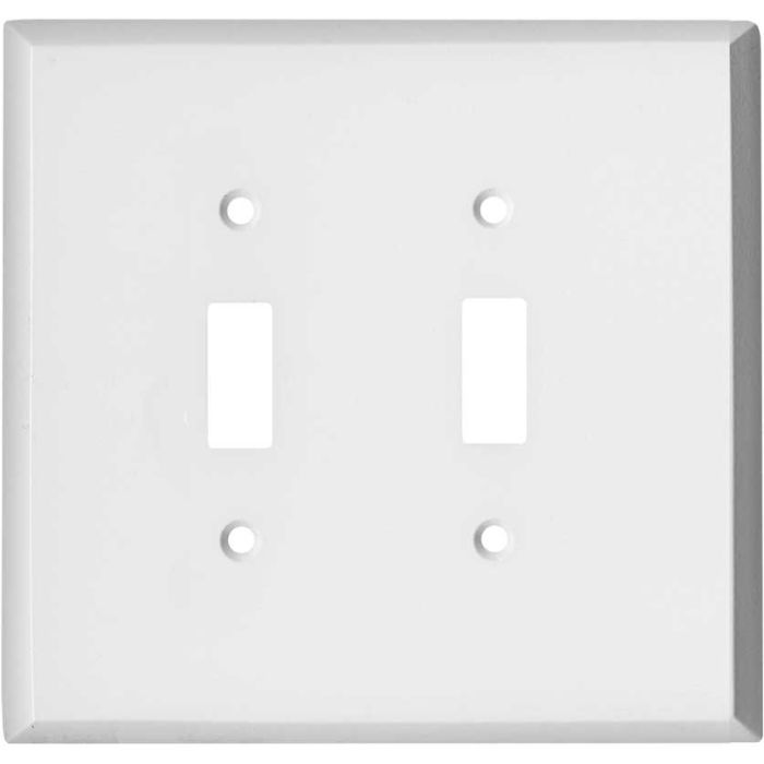 Oversized White Steel Double 2 Toggle Switch Plate Covers