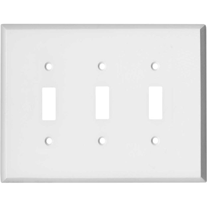 Oversized White Steel Triple 3 Toggle Light Switch Covers