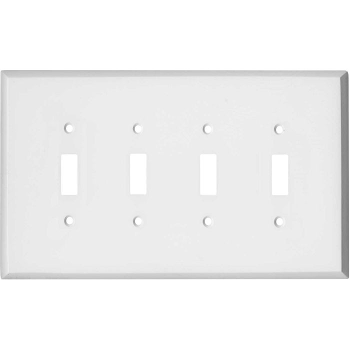 Oversized White Steel Quad 4 Toggle Light Switch Covers