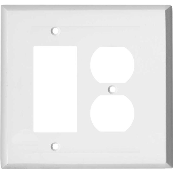Oversized White Steel Combination GFCI Rocker / Duplex Outlet Wall Plates