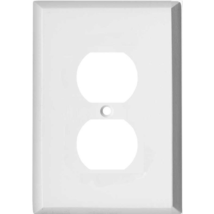 Oversized White Steel 1 Gang Duplex Outlet Cover Wall Plate