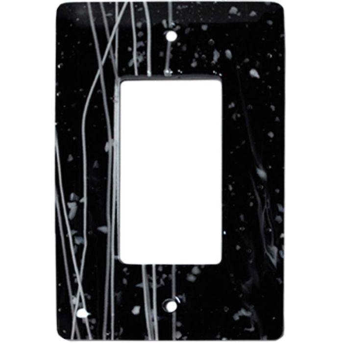 White Mardi Gras Black Glass Single 1 Gang GFCI Rocker Decora Switch Plate Cover