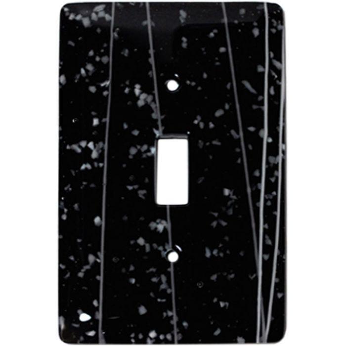 White Mardi Gras Black Glass Single 1 Toggle Light Switch Plates