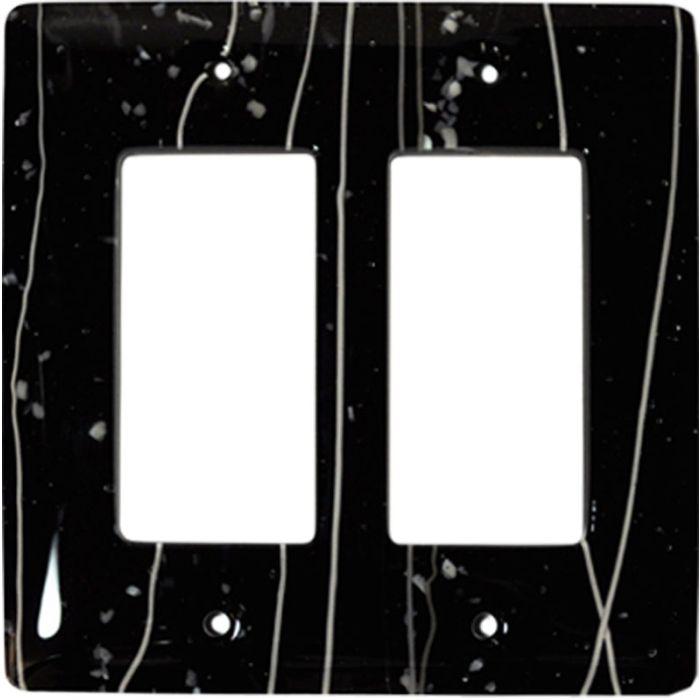 White Mardi Gras Black Glass 2 Gang Double GFCI Rocker Decorator Wallplates