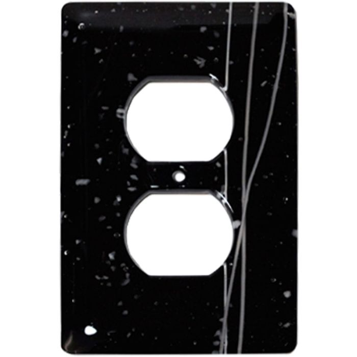 White Mardi Gras Black Glass 1 Gang Duplex Outlet Cover Wall Plate