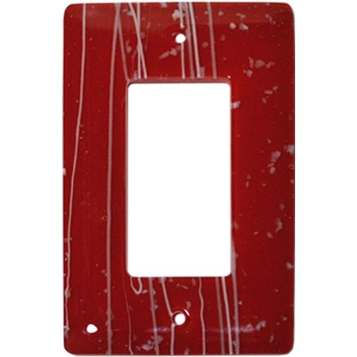 White Mardi Gras Red Glass Single 1 Gang GFCI Rocker Decora Switch Plate Cover