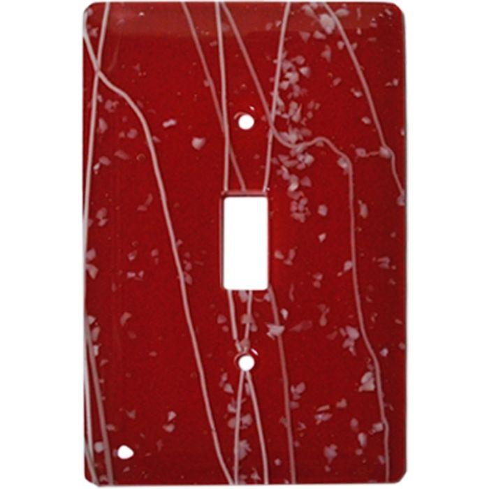 White Mardi Gras Red Glass Single 1 Toggle Light Switch Plates