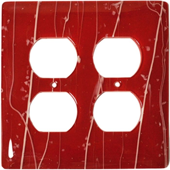 White Mardi Gras Red Glass 2 Gang Duplex Outlet Wall Plate Cover