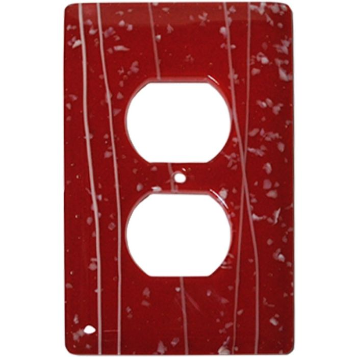White Mardi Gras Red Glass 1 Gang Duplex Outlet Cover Wall Plate