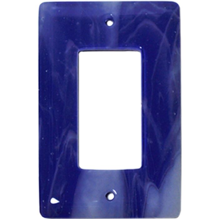 White Swirl Cobalt Blue Glass Single 1 Gang GFCI Rocker Decora Switch Plate Cover