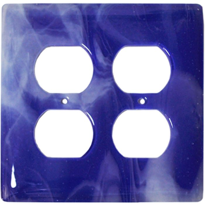 White Swirl Cobalt Blue Glass 2 Gang Duplex Outlet Wall Plate Cover
