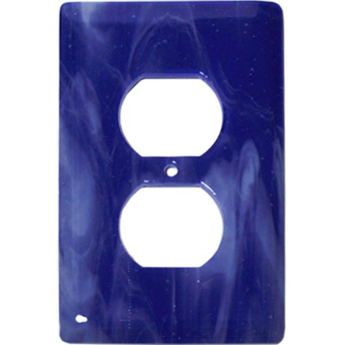 White Swirl Cobalt Blue Glass 1 Gang Duplex Outlet Cover Wall Plate