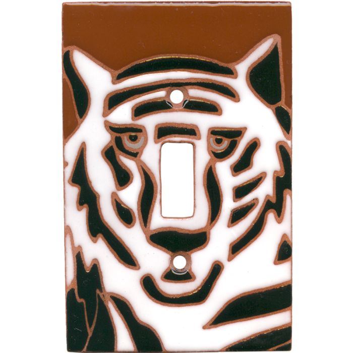White Tiger Single 1 Toggle Light Switch Plates