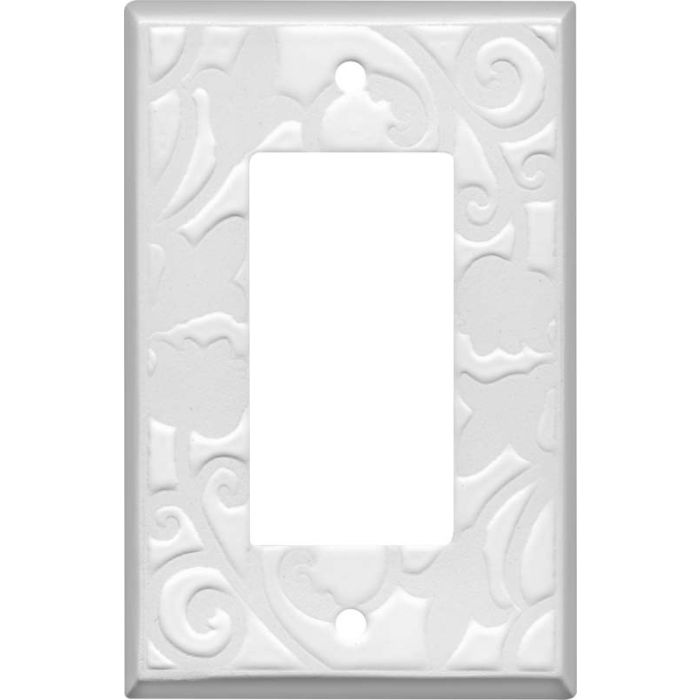 White White Ceramic Single 1 Gang GFCI Rocker Decora Switch Plate Cover
