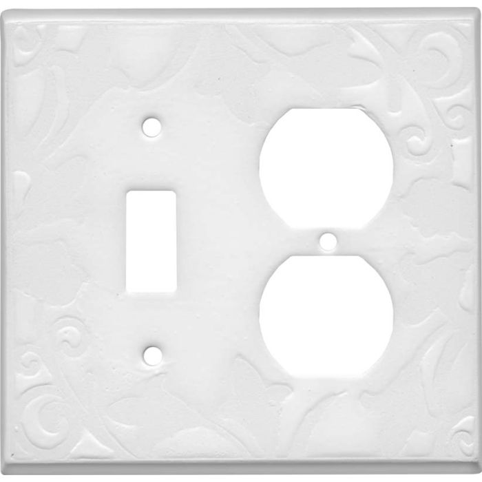White White Ceramic Combination 1 Toggle / Outlet Cover Plates