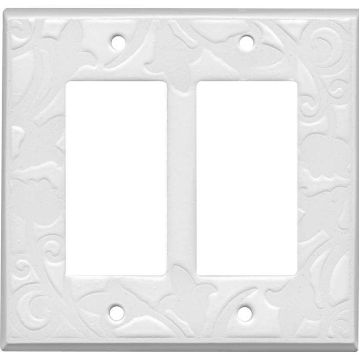White White Ceramic 2 Gang Double GFCI Rocker Decorator Wallplates