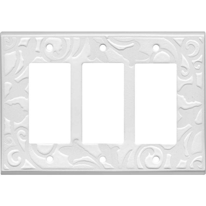 White White Ceramic Triple 3 Rocker GFCI Decora Light Switch Covers