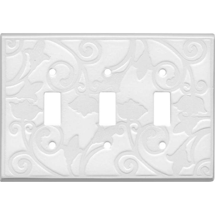 White White Ceramic Triple 3 Toggle Light Switch Covers
