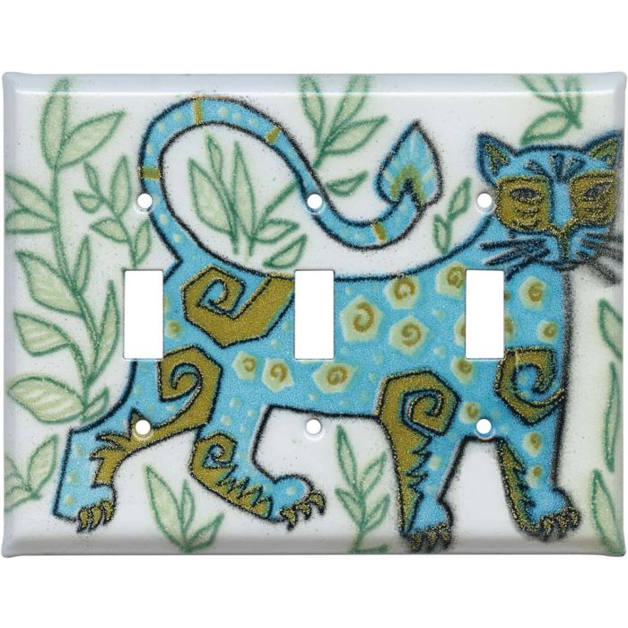 Wild Cat Triple 3 Toggle Light Switch Covers