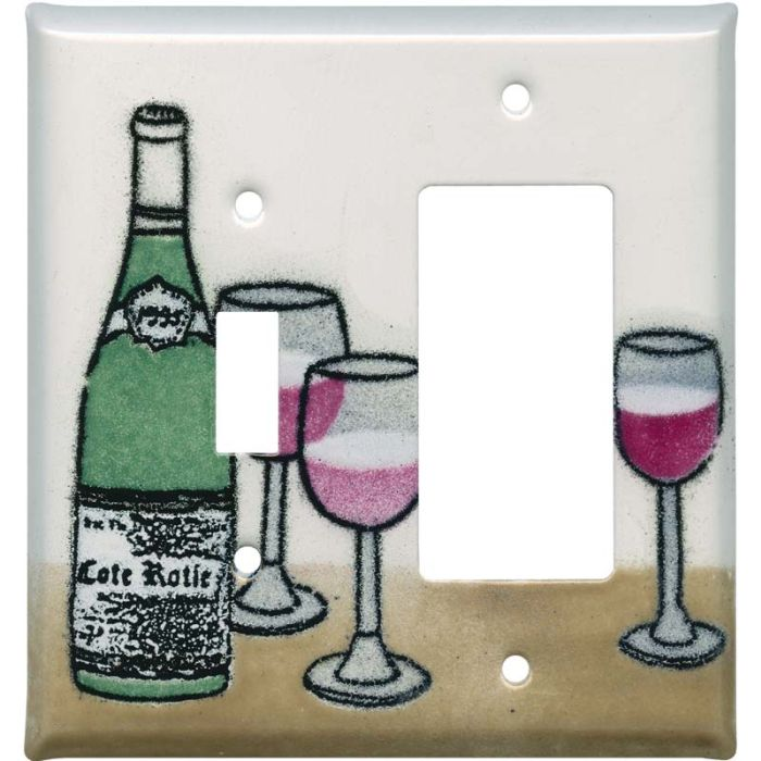 Wine 1 Toggle Wall Switch Plate - GFI Rocker Cover Combo