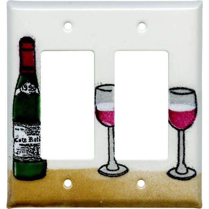 Wine 2 Gang Double GFCI Rocker Decorator Wallplates