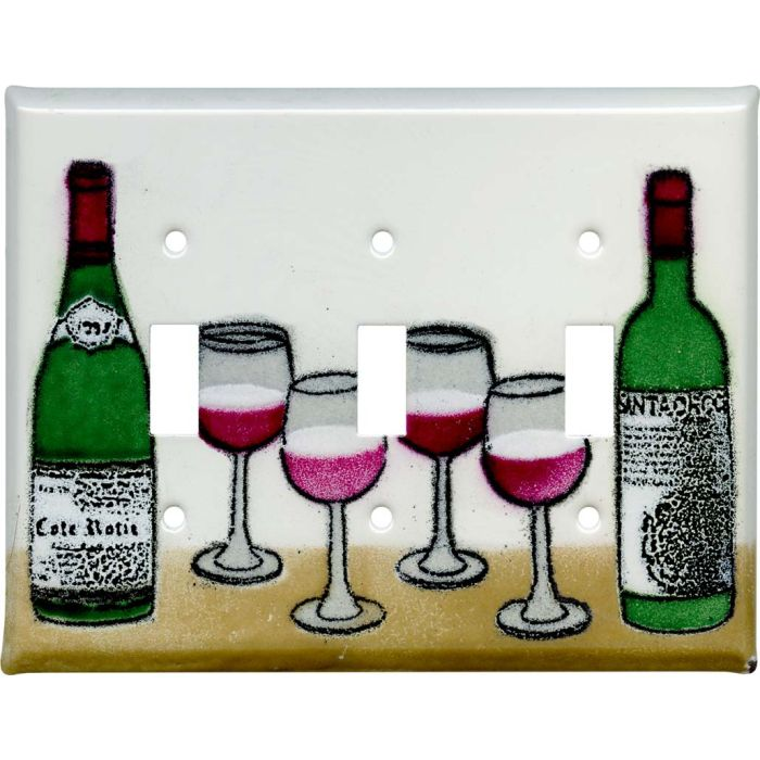 Wine Triple 3 Toggle Light Switch Covers