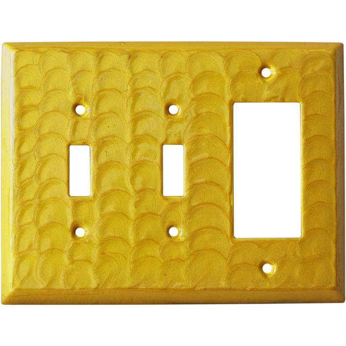 Yellow Motion Double 2 Toggle / 1 GFCI Rocker Combo Switchplates
