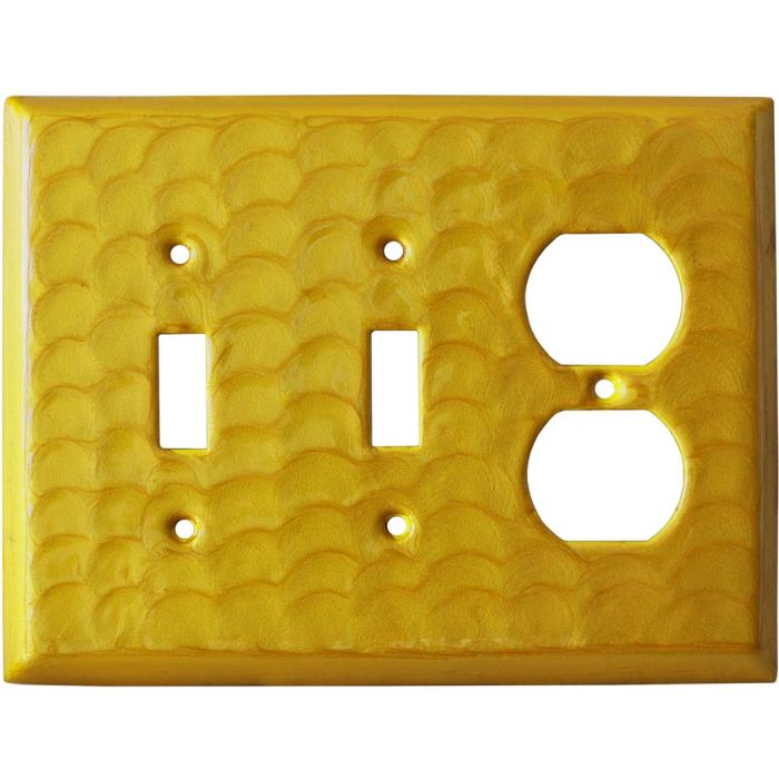 Yellow Motion Double 2 Toggle / Outlet Combination Wall Plates