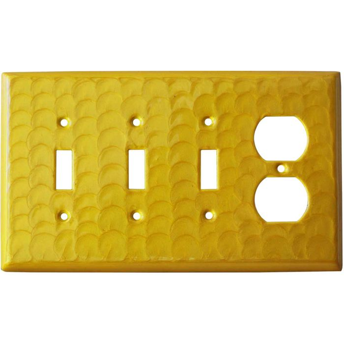 Yellow Motion Combination Triple 3 Toggle / Outlet Wall Plate Covers