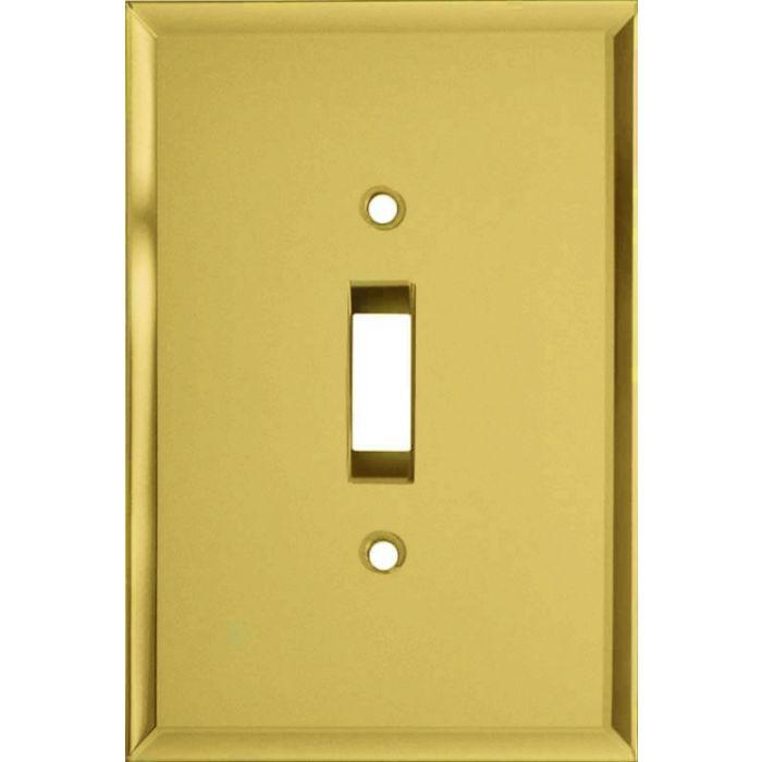 Glass Mirror Yellow Single 1 Toggle Light Switch Plates