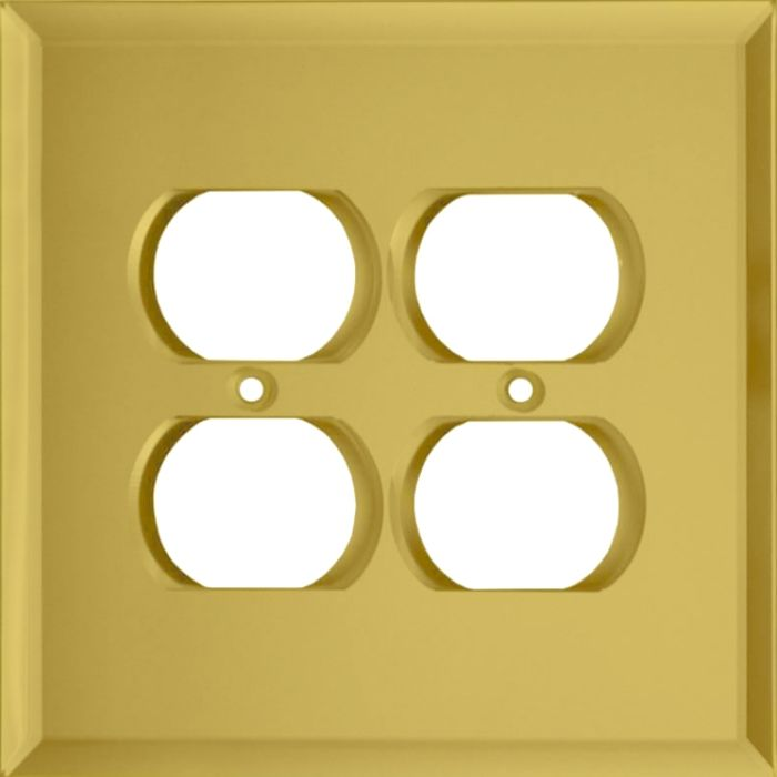 Glass Mirror Yellow 2 Gang Duplex Outlet Wall Plate Cover