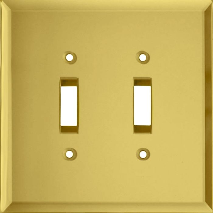 Glass Mirror Yellow Double 2 Toggle Switch Plate Covers