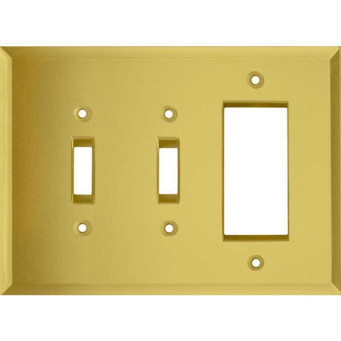 Glass Mirror Yellow Double 2 Toggle / 1 GFCI Rocker Combo Switchplates
