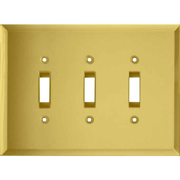 Glass Mirror Yellow Triple 3 Toggle Light Switch Covers