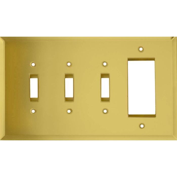 Glass Mirror Yellow Triple 3 Toggle / 1 Rocker GFCI Switch Covers