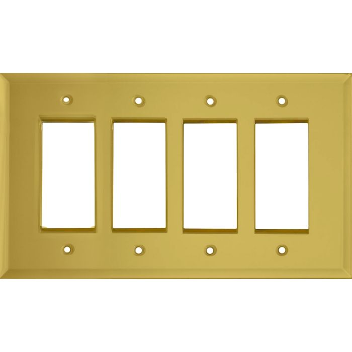 Glass Mirror Yellow 4 Rocker GFCI Decorator Switch Plates