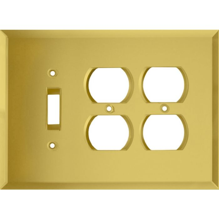 Glass Mirror Yellow Combintion Single 1 Toggle / Double 2 Outlet Wall Plates