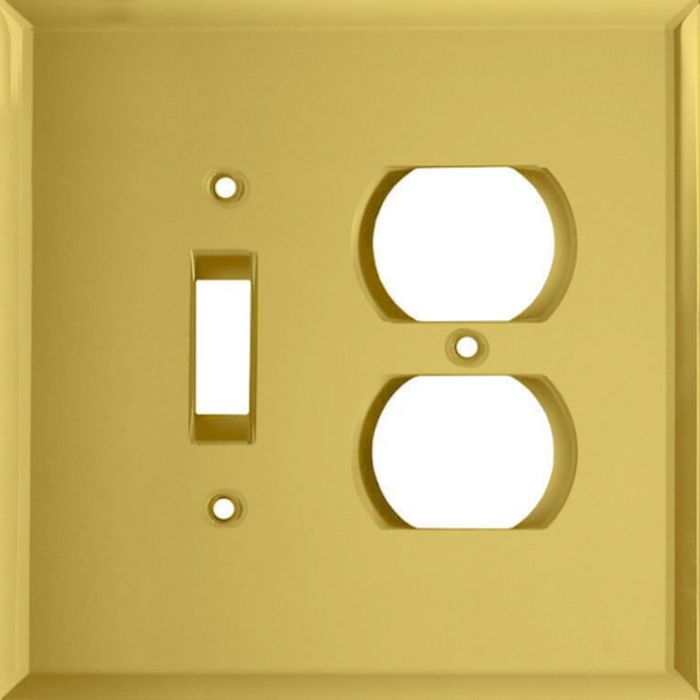 Glass Mirror Yellow Combination 1 Toggle / Outlet Cover Plates