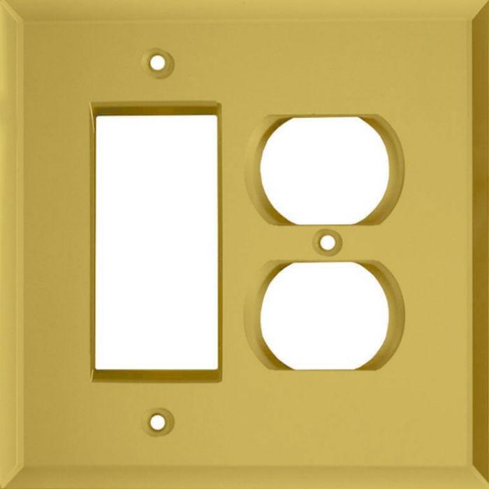 Glass Mirror Yellow Combination GFCI Rocker / Duplex Outlet Wall Plates