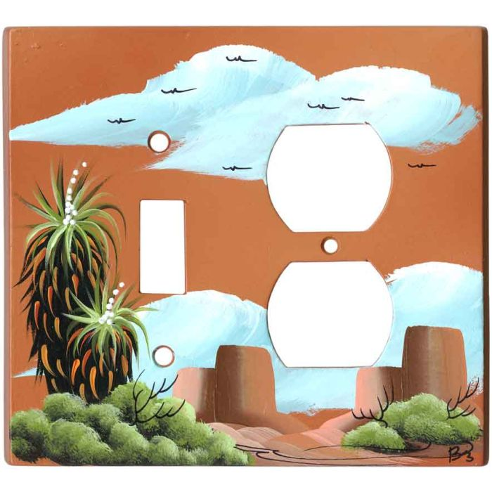 Yucca on Terra Cotta 1 Toggle Wall Switch Plate - Outlet Cover Combination