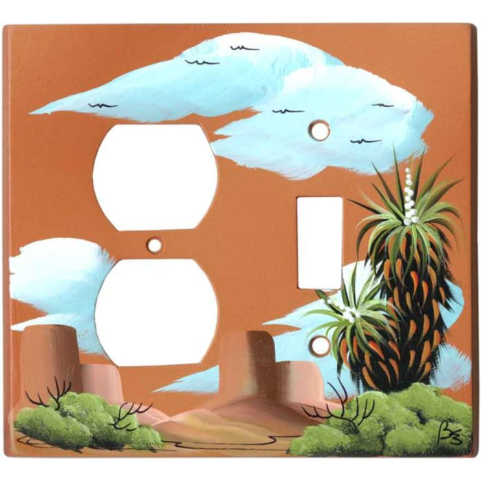 Yucca on Terra Cotta 1-Duplex / 1-Toggle - Combination Wall Plates