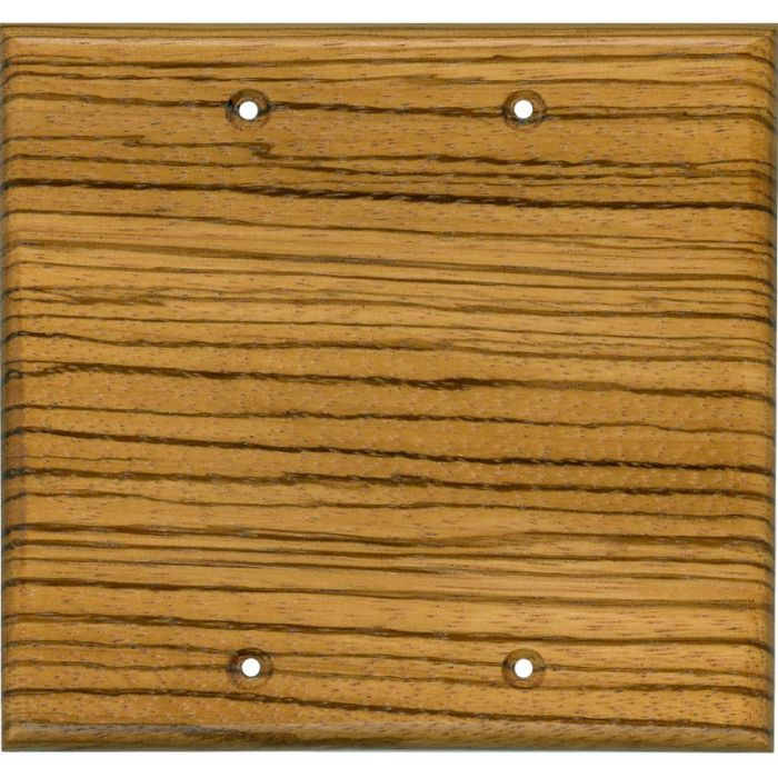 Zebrawood Satin Lacquer Double Blank Wallplate Covers