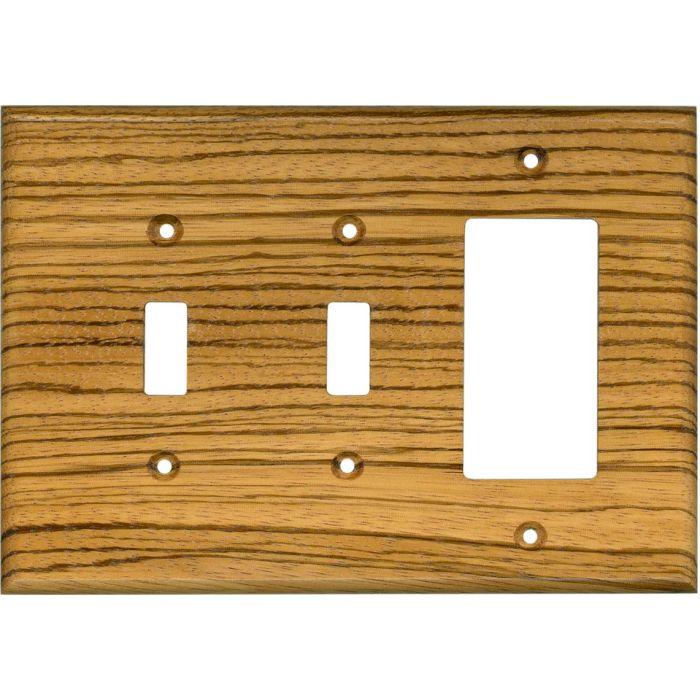 Zebrawood Satin Lacquer - 2 Toggle/1 GFCI Rocker Switchplates