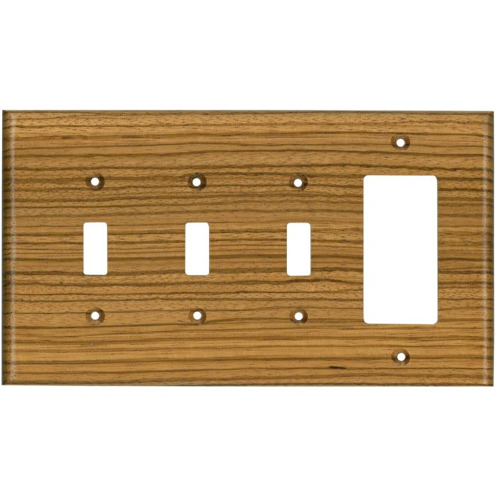 Zebrawood Satin Lacquer Triple 3 Toggle / 1 Rocker GFCI Switch Covers