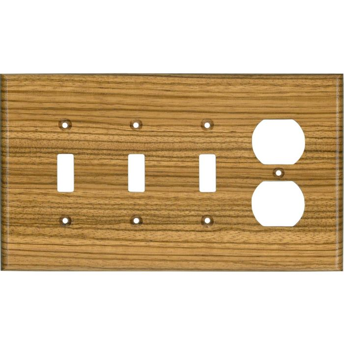 Zebrawood Satin Lacquer Combination Triple 3 Toggle / Outlet Wall Plate Covers